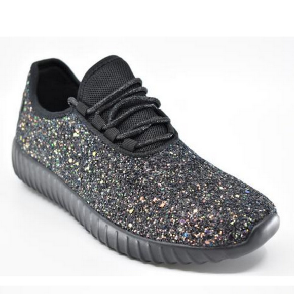 Womens Black Sparkle Glitter Athletic